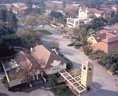 Aerial view of the old bookstore and the clock tower