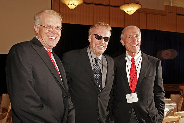 President John Hennessy and Graduate School of Business Dean Robert Joss joined Nike Founder and Chairman Phil Knight