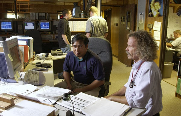 Jerry Arguinaldo and Colin Perry at Mission Operations Center
