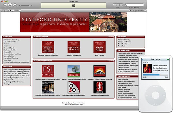 New 'stanford on itunes u' launched.
