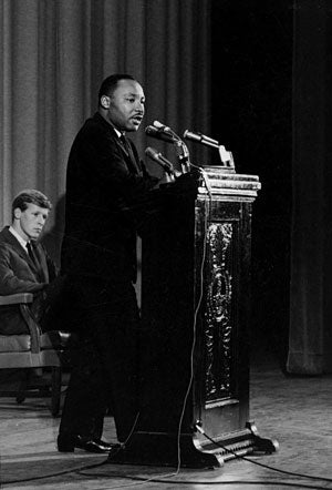 King speaks in Memorial Auditorium in 1964