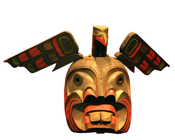 Pugwis Mask with Kingfisher, by Stan Hunt