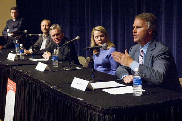 Joel Brinkley joined panelists Harry Chandler, Bill Keller, Marissa Mayer and Gary Pruitt