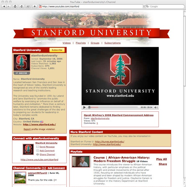 Stanford on YouTube screenshot
