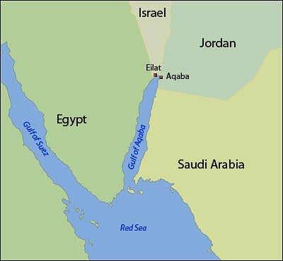 A map of the Gulf of Aqaba