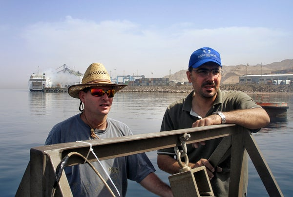 Oceanographers Hezi Gildor of Israel and Riyad Manasrah of Jordan