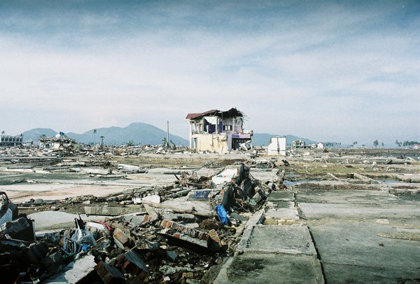 Damaged mosque and surrounding area in Banda Aceh, Indonesia, after the 2004 tsunami.