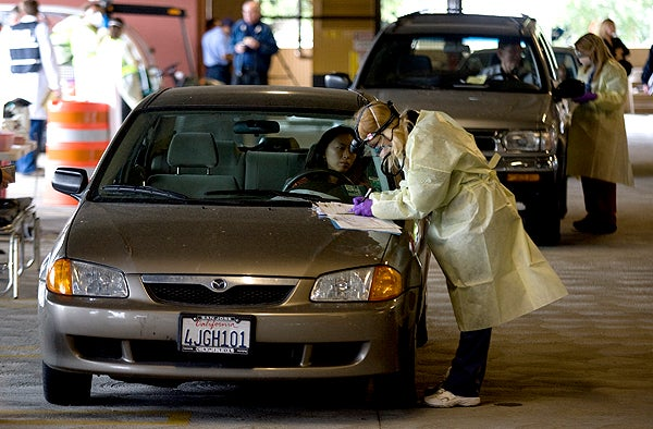 Photo: triage care from car window