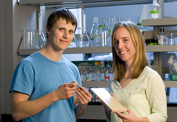 Graduate students Aaron Michel and Molly Morse