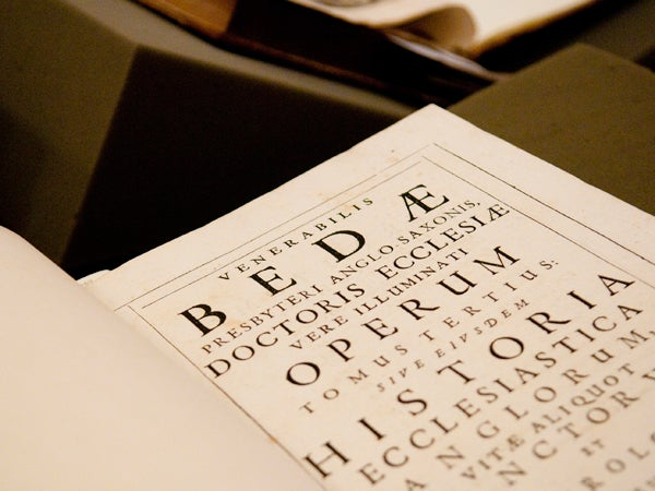 At a recent  celebration, Special Collections displayed about two dozen Bedan volumes from its holdings.