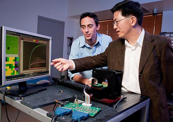 Graduate student Richard Gaster and Professor Shan Wang