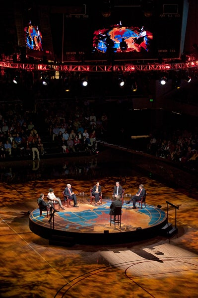 The Roundtable at Stanford was taped for broadcast in front of an audience at Maples Pavilion and webcast live as well.