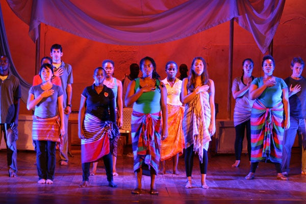 Students perform in the premier of 'Beyond My Circle' at The National Theater in Uganda