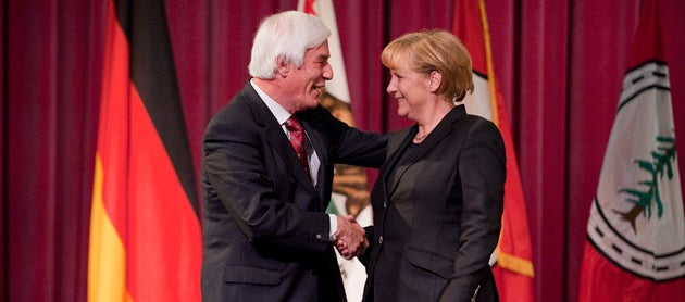 Gerhard Casper and Angela Merkel