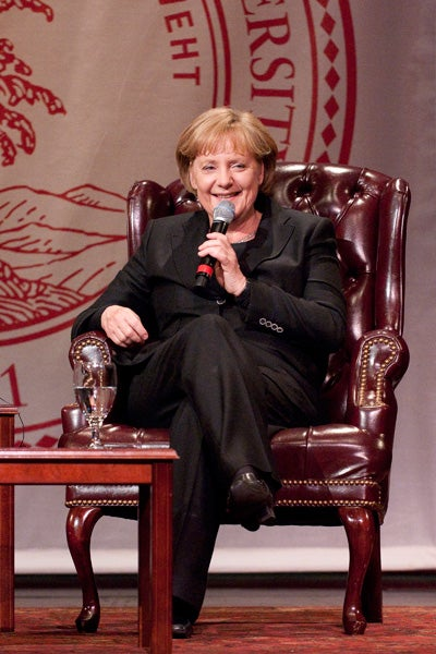 'Freedom and solidarity and partnership belong together,' Chancellor Merkel told the Stanford audience.