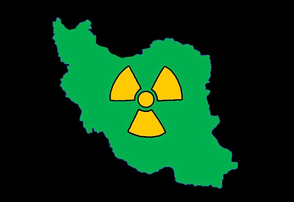 Map of Iran with nuclear symbol