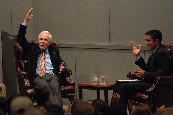 Ted Turner and interviewer Jason LeeKeenan, a second year student at the Stanford Graduate School of Business.