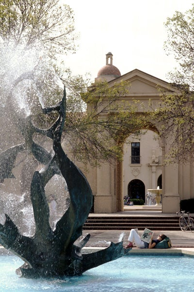 White Memorial Fountain in action in 1993. A six-man crew of machinists and plumbers have worked intermittently on the fountain intermittently on the fountain as campus activities allowed.