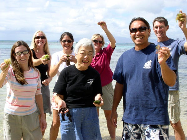 Izzie Abbott on O'ahu with her students.