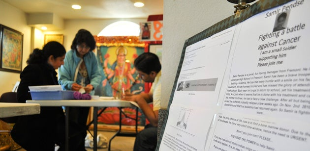 Chetan Patwardhan, right, explains the bone marrow donation process to Vineet Singh and Prachi Chauhan at a marrow drive