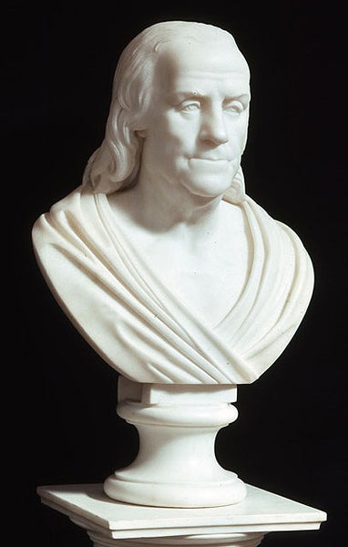 Bust of Benjamin Franklin portrayed in a toga. c. 1817