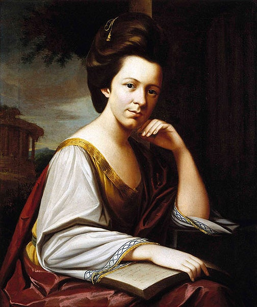 This 1773 portrait is from the year of Sarah Middleton's marriage to Charles Cotesworth Pinckney, a future signer of the Constitution. In her flowing, antique-style dress, posed like the classical prophetess Sibyl, Sarah is portrayed as the very ideal of the ancient Roman matron.