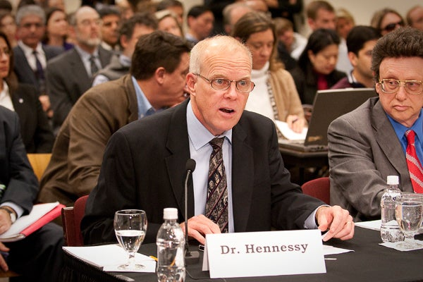 Stanford President John Hennessy told the committee that outdated export controls have stifled research and threatened to turn international students away from promising careers in the United States.