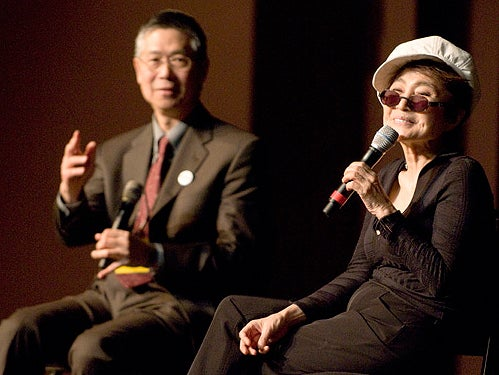 History Professor Gordon Chang and artist Yoko Ono fielded questions after Ono's presentation at Dinkelspiel Auditorium on Jan. 14.