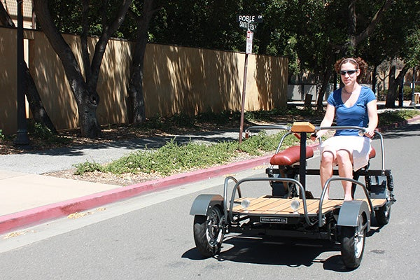 Team member and grad student Karen Shakespear takes  the Weng out for a spin around campus.