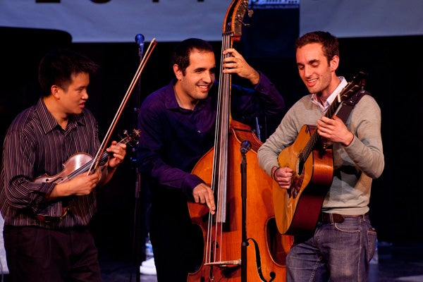 Julian Lage, right, and fellow SJW faculty Victor Lin, left, and Jorge Roeder