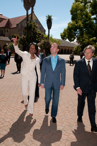 Former Secretary of State Condoleezza Rice, President Dmitry Medvedev and Provost John Etchemendy walked into the main quadrangle for a look at the university before Medvedev delivered his speech.