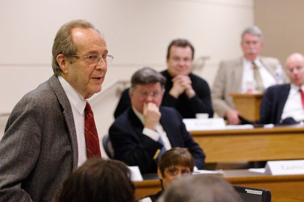 Professor William Perry told the Faculty Senate that when he was Secretary of Defense in 1994, he was surrounded by top military officials who were ROTC graduates.