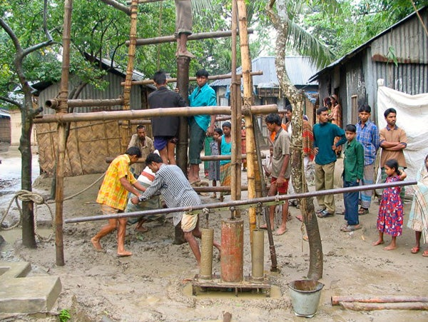 Deep well digging in rural Bangladesh