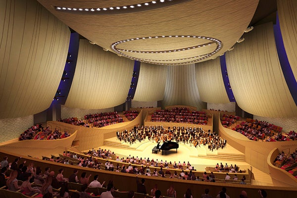 Rendering of the interior of the Bing Concert Hall