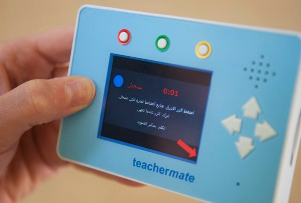 The mobile devices include games that challenge players to use basic math skills, match shapes and strategize.