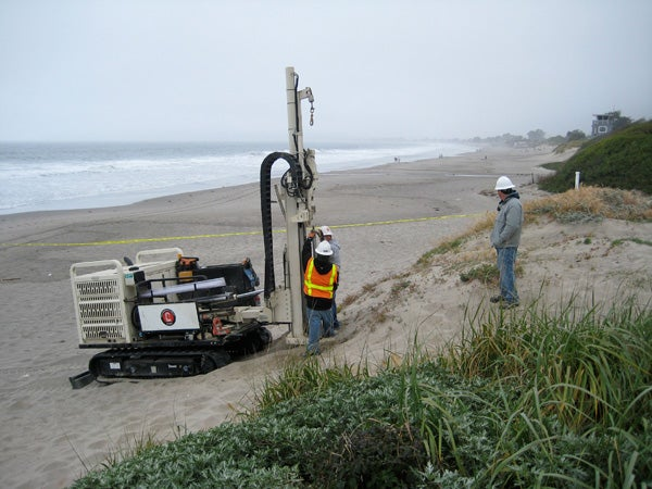 Installing monitoring wells at Stinson Beach