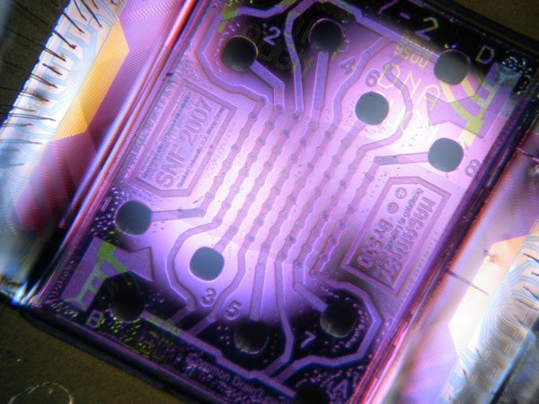 A microchip with an array of 64 nanosensors