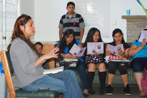 Sonia Jimenez speaking to students