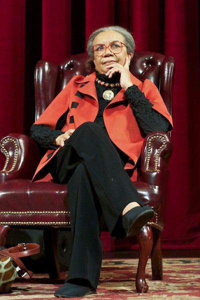Marian Wright Edelman sitting in chair
