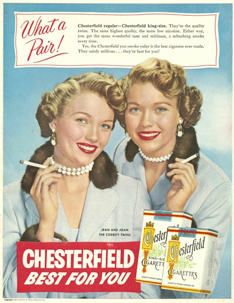 Old ad of two famous women promoting a brand of cigarette