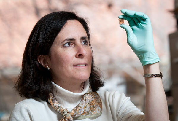 Stacey Bent with a quantum dot sensitized solar cell