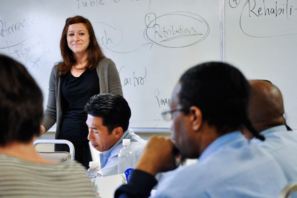 Stanford Law School student Maggie Filler teaches San Quentin class