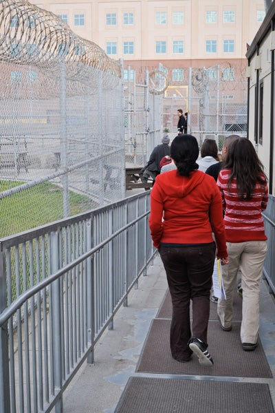 Stanford students leave San Quentin after teaching a class