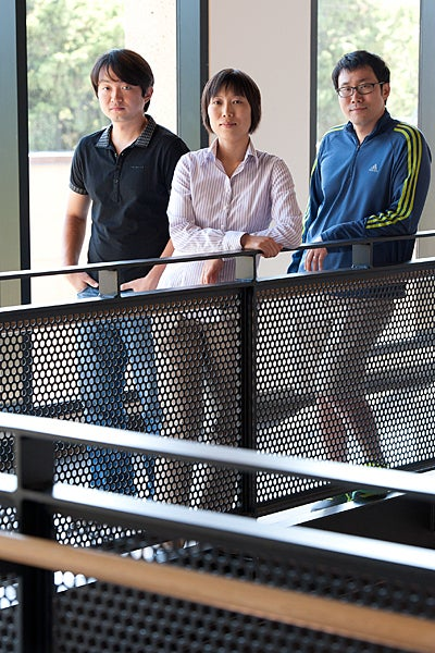 Portrait of researchers Zheng, Lee and Kim