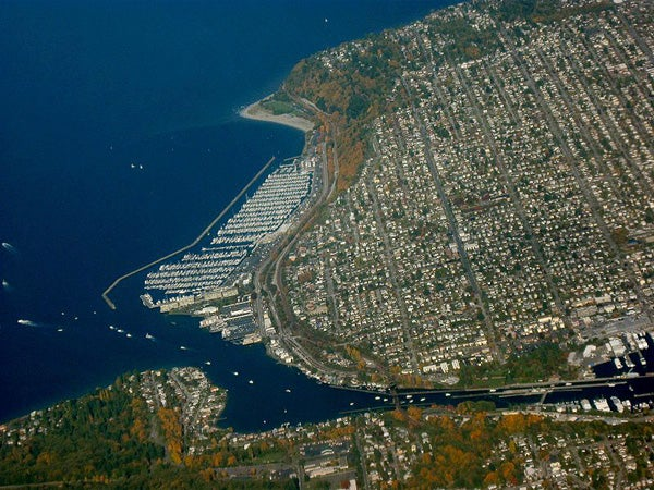 Aerial shot of Puget Sound