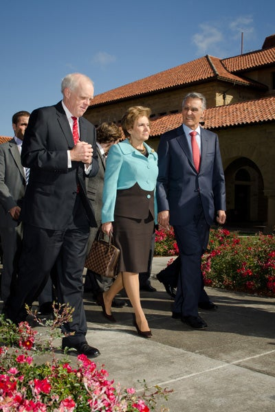John Hennessy with Portugal's President Aníbal Cavaco Silva and his wife