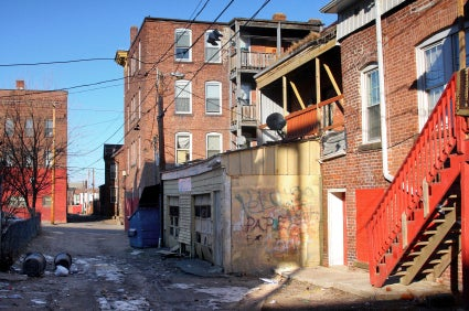 Alley with graffiti and garbage