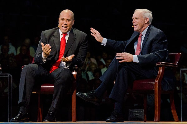 Cory Booker and John Hennessy