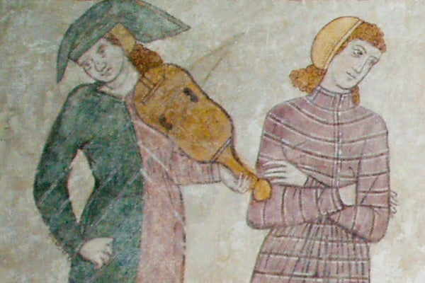 Fresco image of troubadour and woman