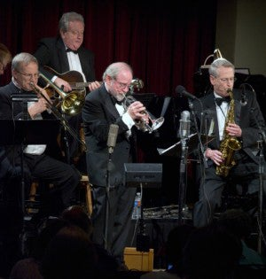 Jim Cullum Jazz Band members on stage
